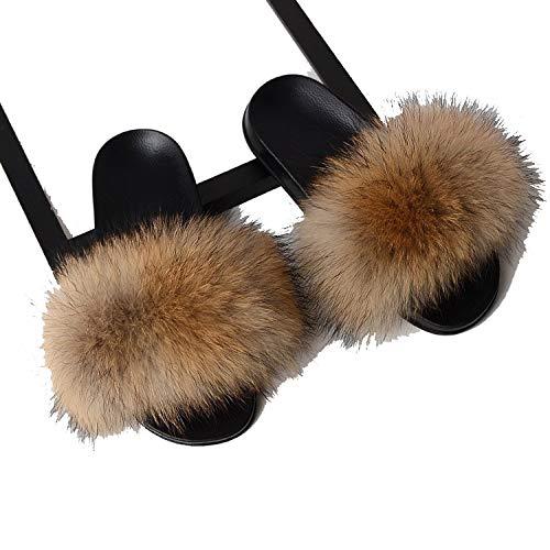 F-u-r Slippers Women Real F-o-x F-u-r Slides Home F-u-rry Flat Sandals Cute F-l-uffy House Shoes,Camel,13