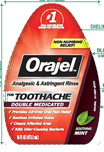 - Orajel Analgesic and Astringent Rinse Toothache Double Medicated Soothing Mint,16 fl oz (Pack of 2)