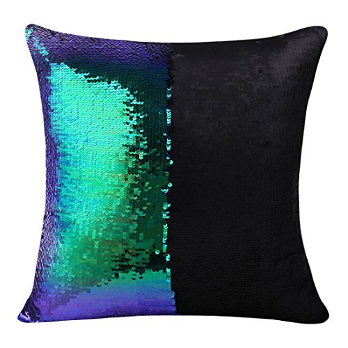 Magic Mermaid Pillow Cover Reversible Sequins Color Changing Pillow Case Bling Bling Sequins Pillow Sham Gift for Kids Funny Home Decoration