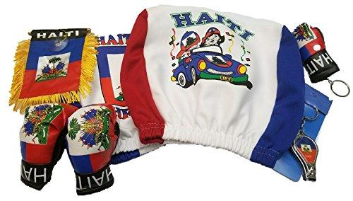 7pcs Haiti Headrest Cover flag Haitian Boxing Gloves banner nail clipper combo