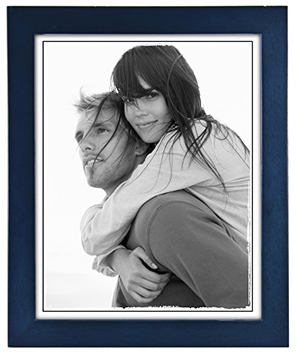 Malden International Designs Linear Classic Wood Picture Frame, 8x10, Blue (Blue Frames)