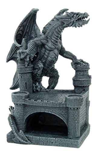 "MEDIEVAL DRAGON ON CASTLE ASHTRAY 10""H, 90022-1 BY ACK"
