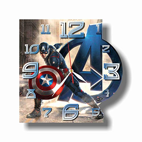Captain America 11.8'' Handmade Wall Clock - Get unique décor for home or office – Best gift ideas for kids, friends, parents and your soul mates