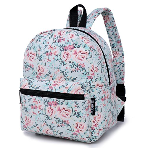 Lightweight Canvas Backpack for Women, Teens and Kids (Flower Blue Small V2)