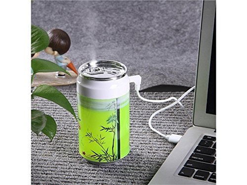 Yunqir Compatible Portable Oil Diffuser Humidifier Cans USB Humidifier Mute Household Desktop Purifying Air Ultrasonic Humidifier(Green)