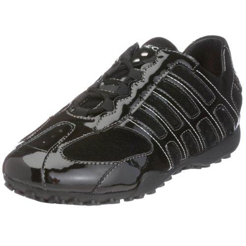 (Geox Women's Snake Sneaker,Black,36 EU (US Women's 6 M) )