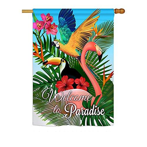 """Breeze Decor H105053 Tropical Paradise Garden Friends Birds Decorative Vertical House Flag, 28"""" x 40"""", Multicolor from Breeze Decor"""