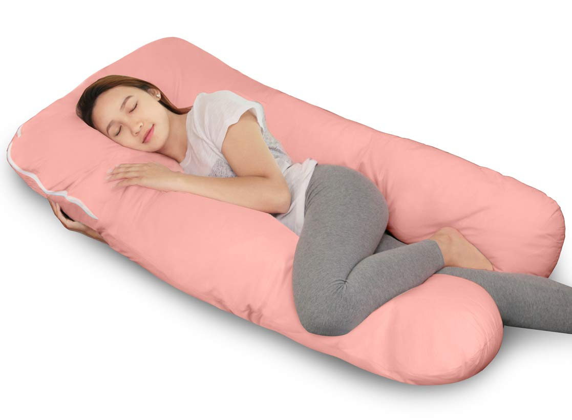 Full Pregnancy Body Pillow Originally with Washable Cover-U Shaped-By QUEEN ROSE (Sky Blue) Best Buy Box PP-G01