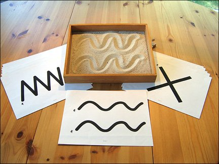 Montessori Wood Therapy Sand Writing Tray with Laminated Tracing Cards & Lots of Colored Sand ()