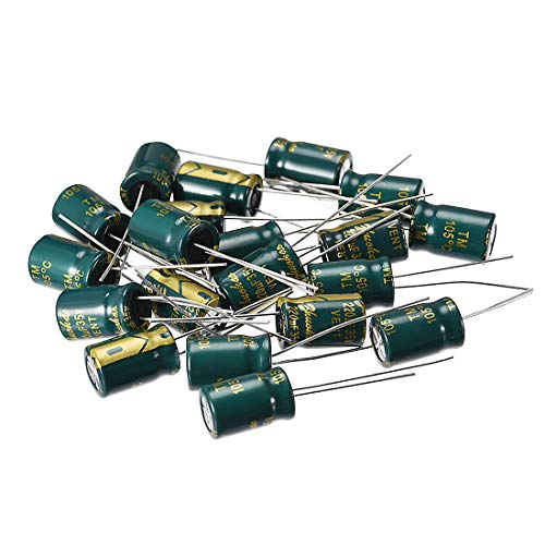 - uxcell Aluminum Radial Electrolytic Capacitor Low ESR Green with 220UF 35V 105 Celsius Life 3000H 8 x 12 mm High Ripple Current,Low Impedance 25pcs