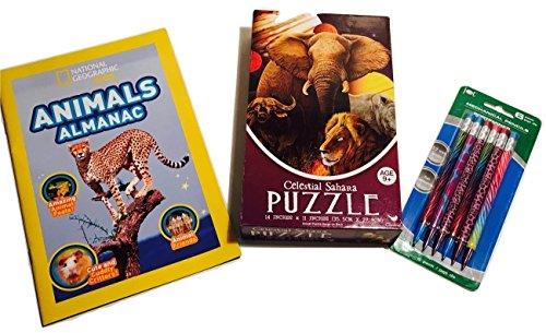 Sahara Pc (Celestial Sahara Jigsaw Puzzle, Animals Almanac, Mechanical Pencils with Safari Designs; 3-pc.)