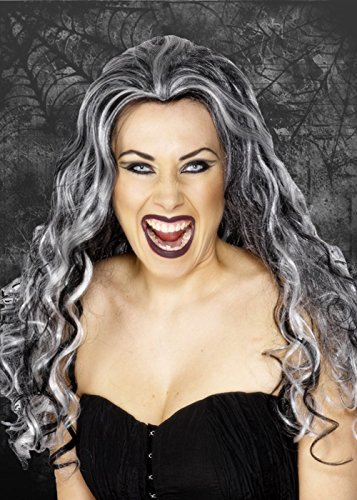 Womens Grey Curly Vampiress Wig -