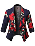 Plus4u Stretch Design Printed 3/4 Shirring Sleeve Open Blazer [1XL-3XL] Navy Red Size 2XL