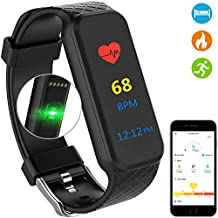Fitness Tracker Watch, Health Activity Tracker Sports Watch, Smart Wristband Bracelet Band - Heart Rate Monitor, Pedometer, Calorie, Waterproof, Colorful Touch Screen, Black