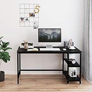 Yoleo Computer Desk 47.2 inch Modern Style Home Office Desk with 2 Storage Shelves Workstation for Home Office Work…