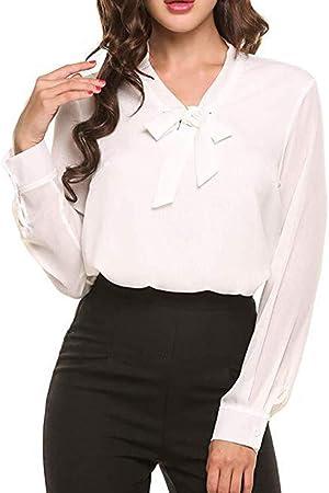 Asseny Mujer Camisas Pajarita Cuello Manga Larga Casual Oficina Blusa de Chifón Suéter - Blanco, Small: Amazon.es: Hogar