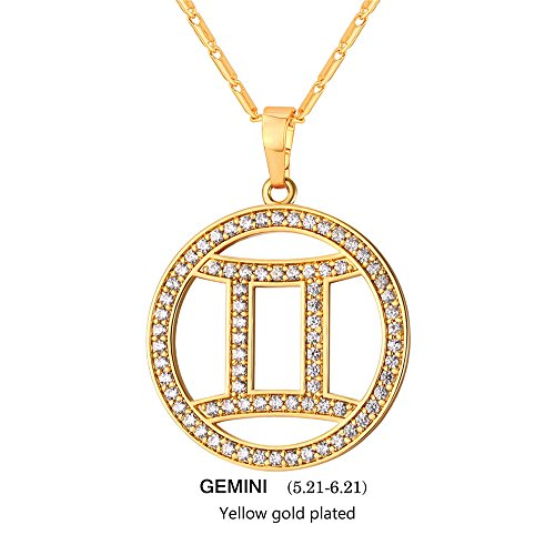 Gold Gemini Zodiac Pendant (Gemini Zodiac Pendant Hollow Fashion with Cubic Zirconia Women & Men Birthday Gift Constellation Jewelry 18K Gold Plated Necklace)