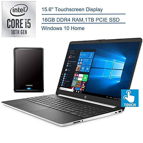 2020 HP 15.6″ Touchscreen Laptop Computer, 10th Gen Intel Quard-Core i5 1035G1(Beats i7-7500U), 16GB DDR4, 1TB PCIe SSD, Silver, Windows 10 + YZAKKA 500GB External Hard Drive