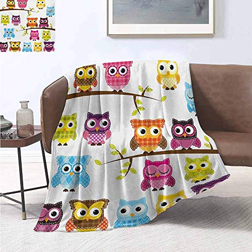 Pokemon Leaf Green Map (jecycleus Nursery Children's Blanket Patchwork Quilt Style Owls on Branches Animals with Green Leaves Bird Mascots Print Lightweight Soft Warm and Comfortable W70 by L70 Inch)
