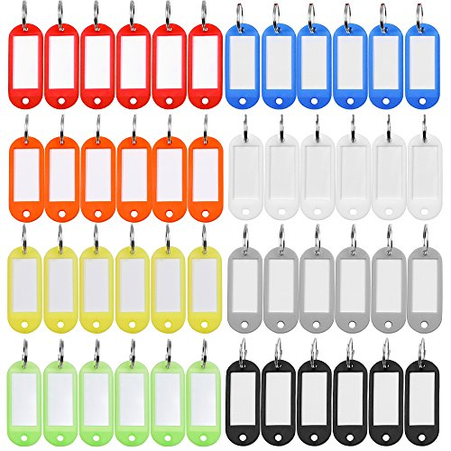 48 Pcs Key LabelsTags with Split Ring, Key Labels Window and House Key ID Tags Item Identifier ( 8 colors )