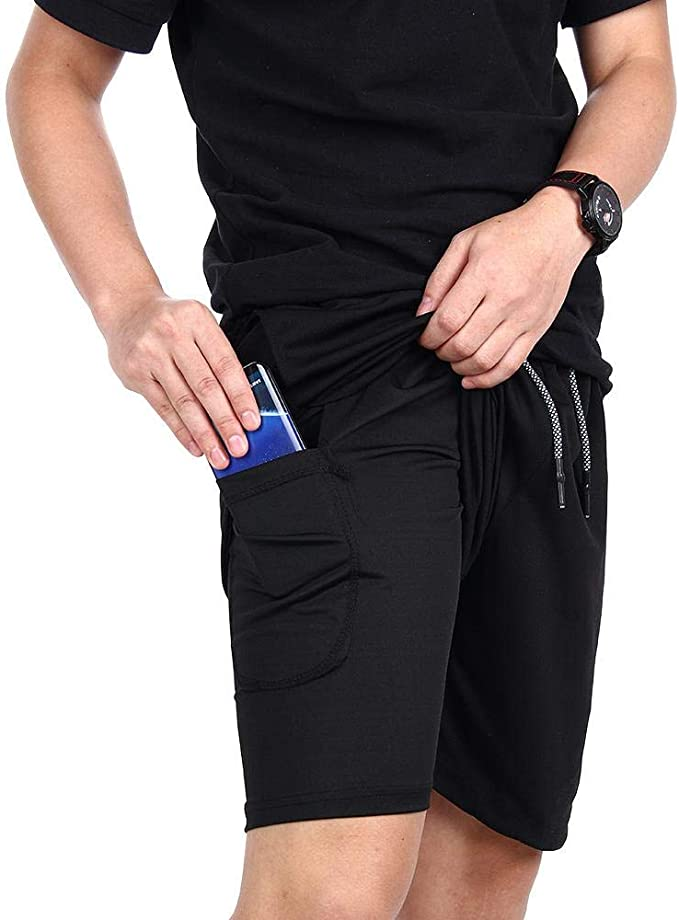 CLOUSPO 2 in 1 Gym Shorts Running Shorts Quick Drying Breathable Shorts with Back Zipped Pocket and Towel Pocket Inner Short Exercise Workout Cycling Shorts