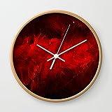 Society6 Modern Art - Dark Red Throw Pillow - Jeff Koons Inspired - Postmodernism Wall Clock Natural Frame, White Hands