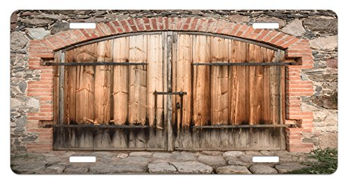 Rustic License Plate by Ambesonne, Wooden Door of a Stone House with Wrought Iron Elements Tuscany Architecture Photo, High Gloss Aluminum Novelty Plate, 5.88 L X 11.88 W Inches, Brown Grey (Wrought Iron Stone)