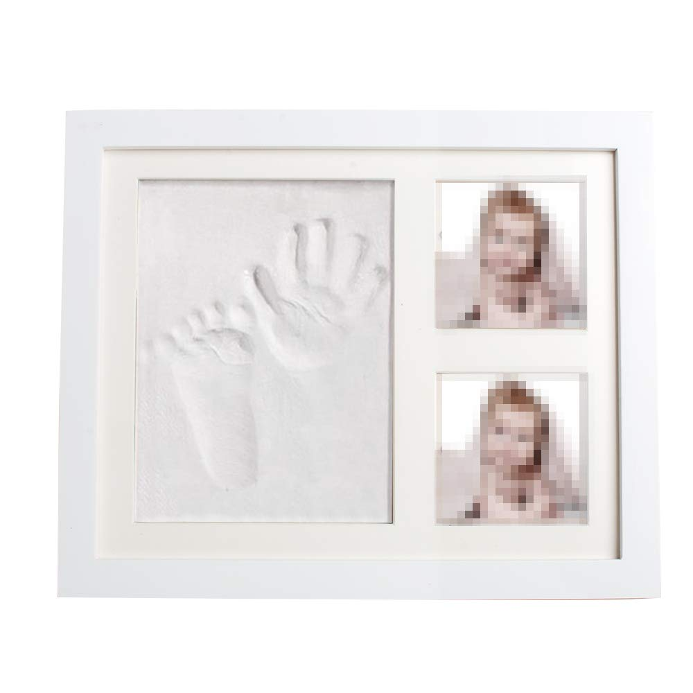 CARESHINE Newborn Baby Handprint and Footprint Picture Frame Kit Keepsake Box for Boys and Girls Personalized Table and Wall Photo Decoration