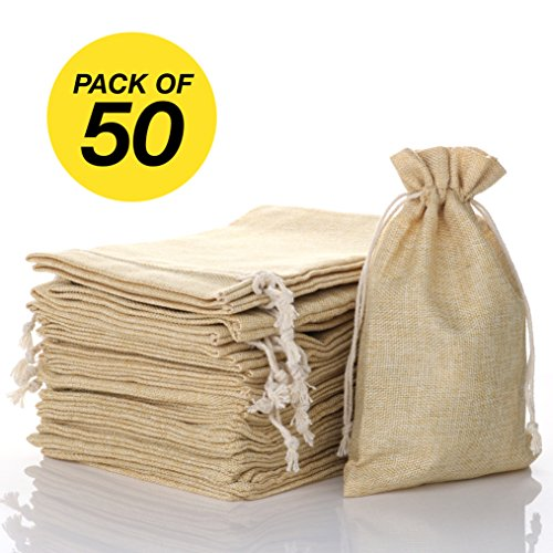 "FLAIRYLAND 5"" x 8"" Burlap Bags with Jute Drawstring for Holiday Party Birthday Wedding Gift Jewelry Treat DIY Craft Favor Bags Sack Pouch, Biodegradable Linen Absorbs Moisture Oil Grease, Lot of 50"