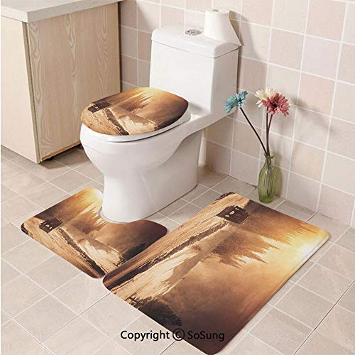 3pcs/Set Winter Style Soft Comfort Flannel Toilet Mat,Colorado Mountain Road and The Winter Storm with High Wind ICY Road and Vehicle,Plush Bathroom Decor Mat with Non Slip Backing,