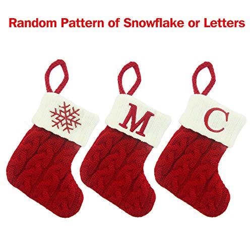 Mini Christmas Stocking 7 - Snowflake & Letters Random Matching | Knitted Candy Bags Holiday Treats, Rustic Silverware Holders Trees Hanging Socks, Home Ornament for Xmas Decor - 3 Pieces