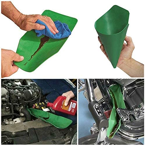 14.6x6.7in,37x17cm, Green General Purpose Funnel Free Oil Filter Extended for Discharging Oil from Cars Motorcycles Trucks Flexible Oil Funnel Foldable Draining Tool