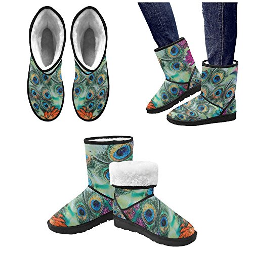 top Artsadd Winter Boots Beautiful Peacock Feathers Custom High Top Unisex Snow Boots M047 big discount
