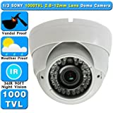 1/3″ SONY 1000TVL , 720P, 1.3 MP 2.8-12mm Manual Zoom, 36IR 75FT Night Vision Vandal/Weather Proof CCTV Dome CAMERA