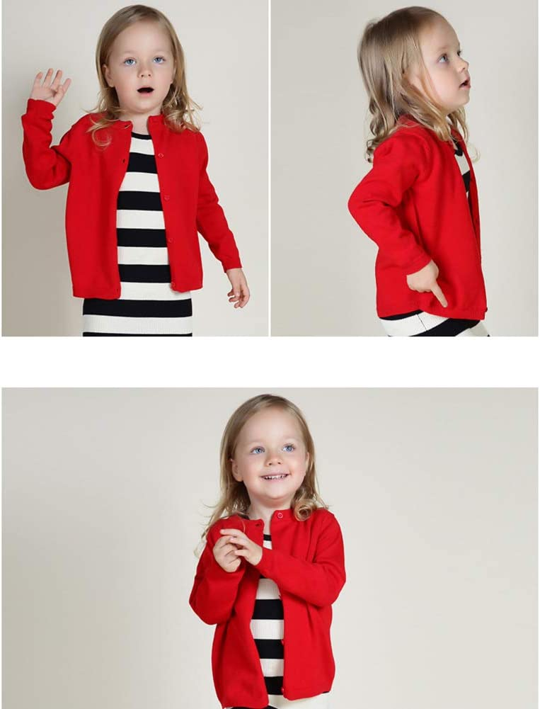 Ocamo Little Girls Knit Uniform Cardigan Long Sleeve Sweater for Childrens Boys and Girls Gray 3Y