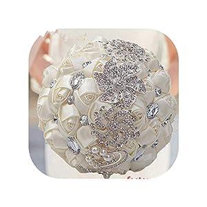 Artificial Wedding Bouquets Hand Made Flower Rhinestone Bridesmaid Crystal Bridal Wedding Bouquet,30cm Choose Color 88