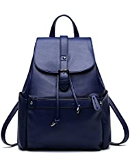 BOBILIKE Women Leather Backpack Shoulder Bag Casual School Travel Daypack Purse, Blue