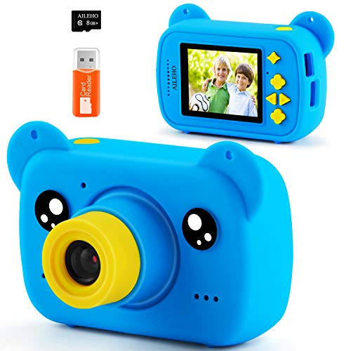 AILEHO Kids Camera for Boy Blue Bear Cartoon Birthday Children Toy Toddler Camera 3-10 Year Old Starter Kids Digital Camera 8M 1080P with 8G Card Kids Game Camera IPS 2.0