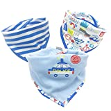 3PCS Newborn Baby Bibs Waterproof Bandana Cute Cartoon Pattern Toddler Saliva Towel Cotton Infant Burp Cloths
