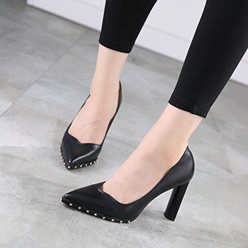 GTVERNH-Autunno Moda Rivetti Scarpe Moda Un Rozzo Scarpe Con Il Tacco Di 10Cm Scarpe Con Occupazione Trentaquattro Black