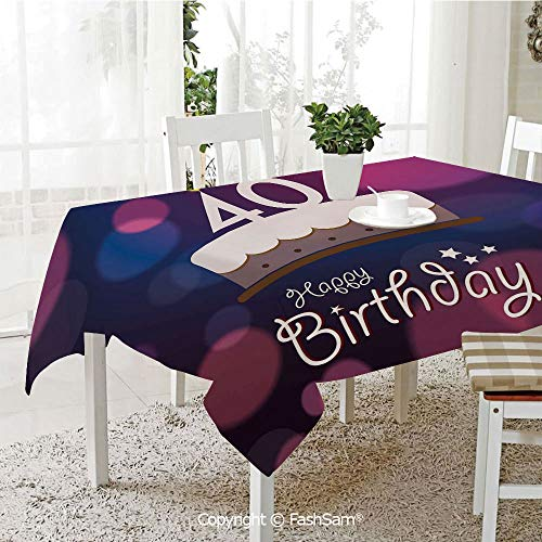 FashSam 3D Dinner Print Tablecloths Big Color Dots and Graphic Cake Candles Hand Writing Stars Tablecloth Rectangle Table Cover for Kitchen(W55 xL72) ()