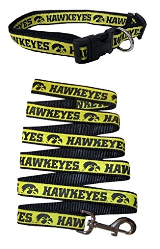 (Iowa Hawkeyes Nylon Collar and Matching Nylon Leash for Pets (NCAA Official by Pets First) Size Medium )
