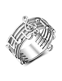 JAJAFOOK Sterling Silver Women's Music Note Song Ring 925 Sterling Silver Band Sizes 6 7 8