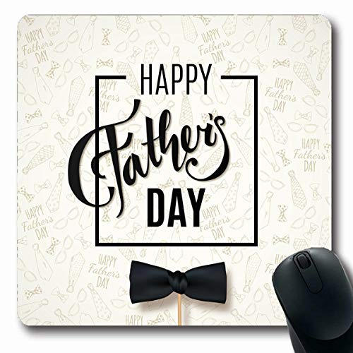 Tobesonne Mousepads Retro Gray Pattern Happy Fathers Day Greeting Doodle Neckties Bow Tie Glasses Holidays Hipster Cool Oblong Shape 7.9 x 9.5 Inches Non-Slip Gaming Mouse Pad Rubber Oblong Mat ()