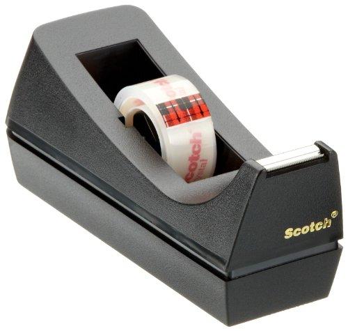 Scotch 83980 Tischabroller (inkl. 1 Rolle Crystal Klebeband, 19mm x 10m) schwarz