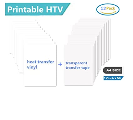 Printable Heat Transfer Vinyl Inkjet Printer Iron on HTV A4 Size for Light  Fabrics or T-shirts, Pack of 12