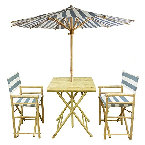 Zew 4-Piece Bamboo Outdoor Set Includes 2 Folding
