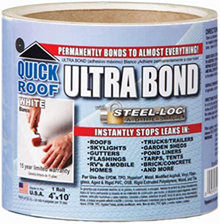 Amazon Com Cofair Products Inc Ubw410 Quick Roof 4 Inch X 10 Feet White Ultra Bond With Steel Loc Adhesive Instant Self Adhesive Roof Repair Lawn And Garden Tool Accessories Garden Outdoor