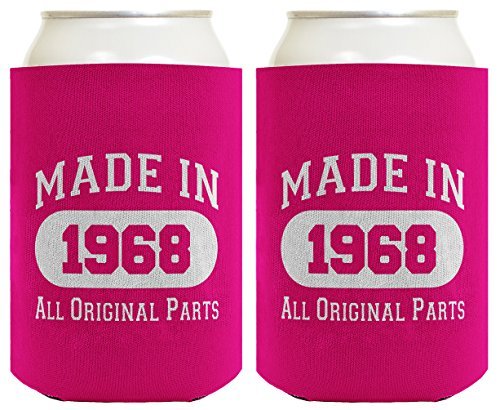 50Th Birthday Gift Coolie Made 1968 Can Coolers Coolies 2 Pack Magenta