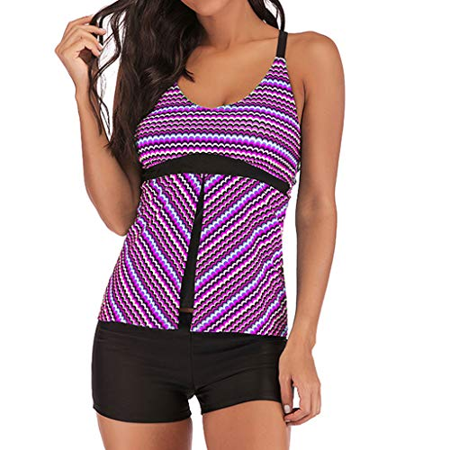 Price comparison product image Sunyastor Womens Plus Size Tankini Set Striped Two Piece Swimwear with Racerback Boyshorts Striped Tummy Control Swimsuits Purple